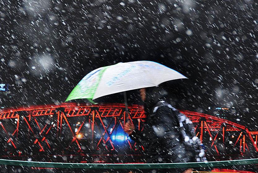 2010年12月15日,上海今天下起了今冬第一场雪。 CFP _初雪降临 银裹多城