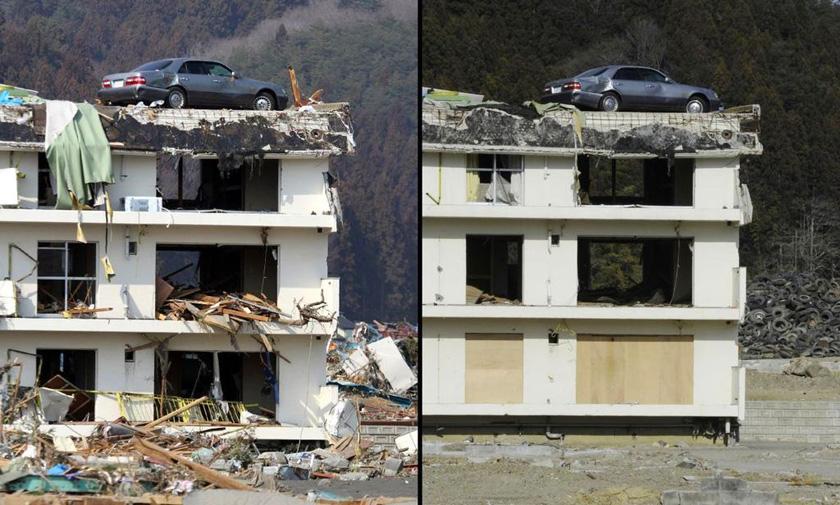 日本地震海啸灾区今昔对比图