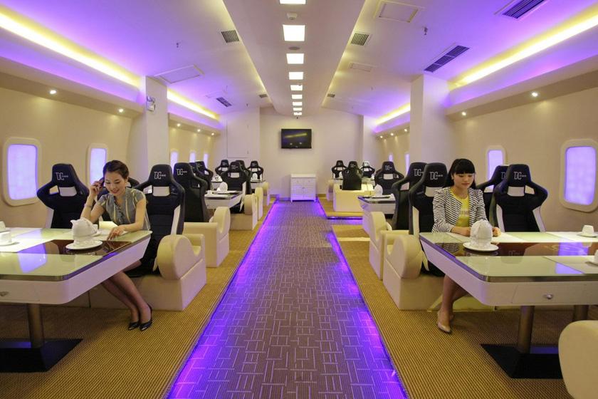 ... 坐 特等 舱 创意 餐厅 高 仿 空客 a380 吃饭 也 坐 特等