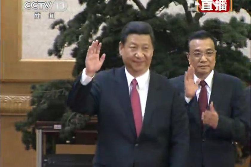 (央视截屏)11月15日,中国共产党十八届中央委员会第一次全体会议新选出的中央政治局常委会见中外记者。_中共新一届中央政治局常委亮相