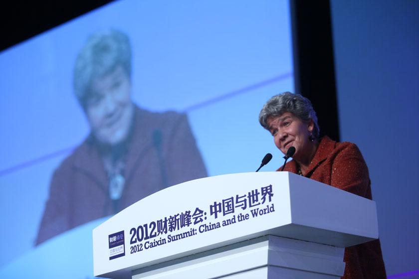 11月17日,美国财政部助理部长玛丽莎·拉戈发言。   牛光/财新记者_议题:中国经济新增长