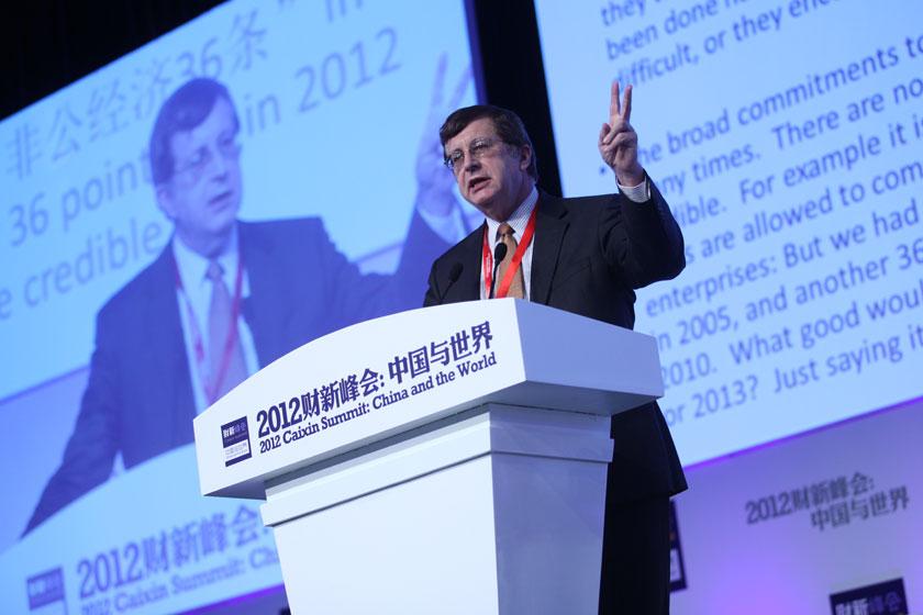 11月17日,加州大学圣地亚哥分校教授、经济学家巴里·诺顿发言。   牛光/财新记者_议题:中国经济新增长