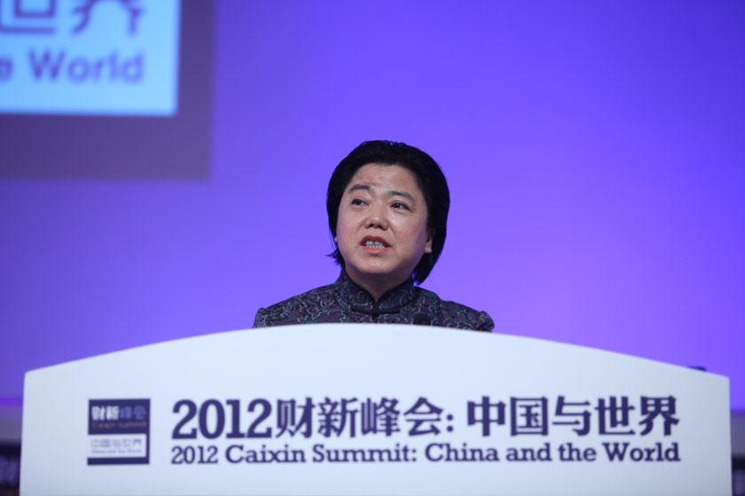 11月17日,深圳证券交易所总经理宋丽萍讲话。     牛光/财新记者_议题:多层次资本市场