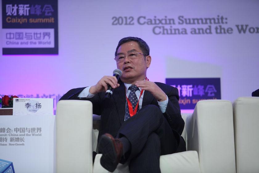 11月17日, 中国社会科学院副院长、学部委员李扬讲话。      牛光/财新记者_议题:银行改革下一步
