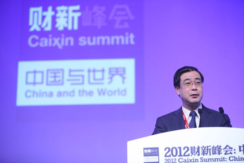 11月17日,天津市委常委、常务副市长崔津渡讲话。     牛光/财新记者_议题:金融改革再破题