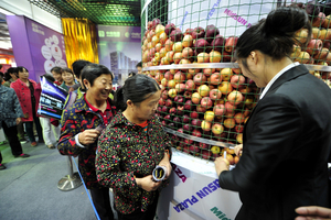 湖南一房交会上送苹果 引市民排队领取