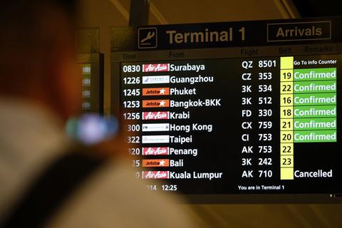 樟宜机场航班公告板显示