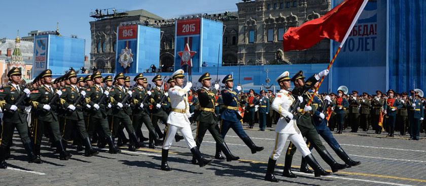 中国解放军方阵亮相俄罗斯红场阅兵彩排