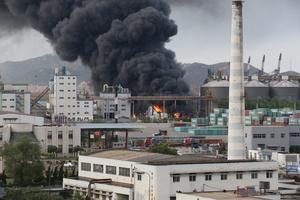 山东烟台一粮油公司突发大火