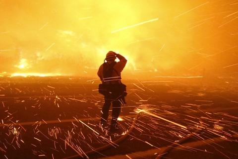 美国加州文图拉县索利马尔地区发生森林火灾,消防员灭火.图片