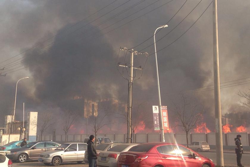 天津双港镇街旁空地突发大火 现场无人员伤亡图片