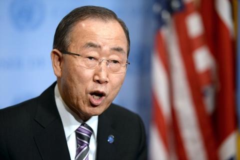 联合国秘书长潘基文在会议召开前对媒体发言。