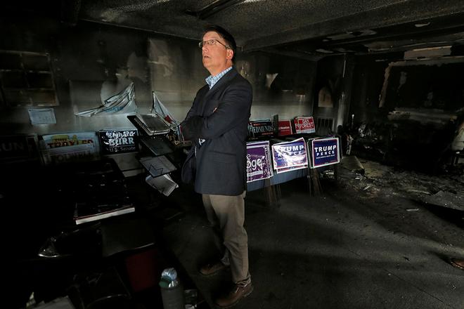 美国北卡州共和党办公室遭纵火 损毁严重