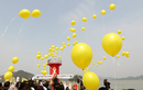 """韩国民众悼念""""世越""""号遇难者 港口放飞黄气球"""