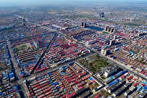 2017年4月1日,河北雄县航拍,俯瞰地面建筑。