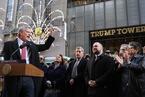 纽约市长在特朗普大厦前集会 抗议共和党税改
