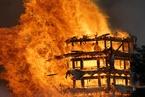 四川九龙灵官楼起火 亚洲最高木塔被烧毁