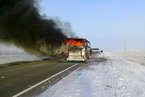 哈萨克斯坦巴士着火致52人丧生