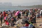 大年初二 海南三亚亚龙湾游人如潮