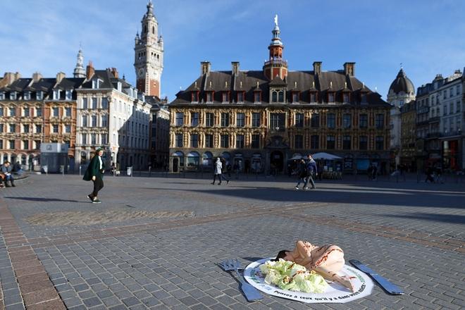 法国动物保护主义行为艺术 抗议食用动物制品