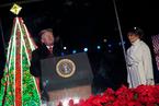 特朗普偕夫人出席第96届国家圣诞树点亮仪式