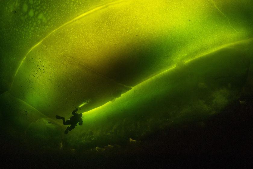 冰潜员探索冰下海底世界 神秘奇幻宛如外星球