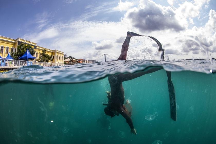 土耳其举行海洋清理活动 潜水员下水清理垃圾