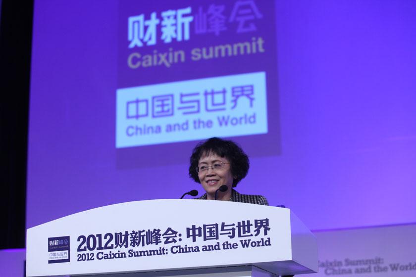 11月17日,财新传媒总编辑胡舒立。       牛光/财新记者_周小川发表主题演讲