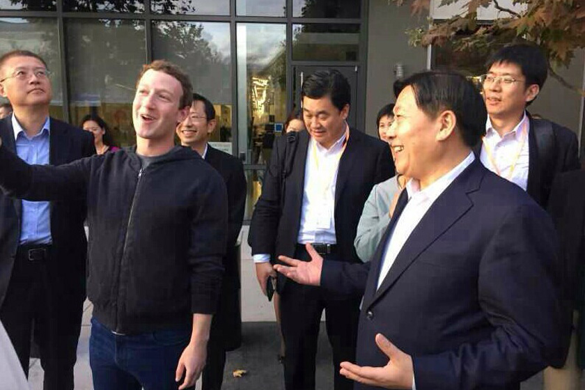 Lu Wei (right) meets Mark Zuckerberg, the chief executive of Facebook, during a trip to the United States in 2014. Photo: Xinhua