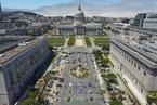 旧金山市政厅前建无家可归者营地 画方框确保距离