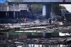 武汉:楚河首次抽干湖水清淤