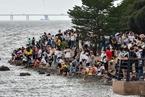 深圳湾公园人山人海 进出地铁站排长队